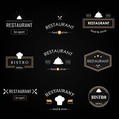 Vintage restaurant vector logotypes set. Labels and badges set