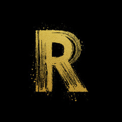 Gold glittering brush hand painted letter R
