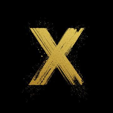 Gold glittering brush hand painted letter X