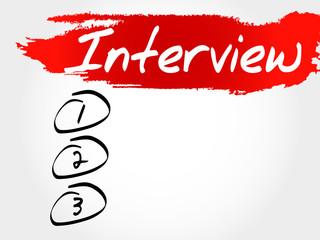 Interview blank list, business concept