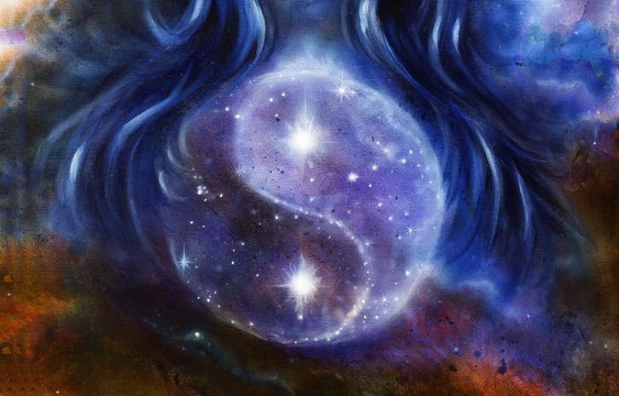 Yin Yang Symbol in space with  stars, about woman hair