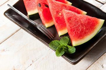 Close up red watermelon