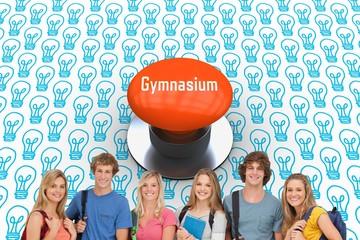 Gymnasium against orange push button