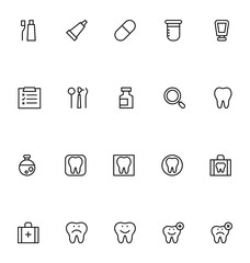 Dental Line Vector Icons 1