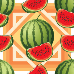 seamless pattern of ripe watermelon and watermelon slices