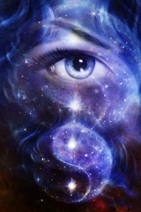 blue women eye ,  space and stars,  simbol yin yang,
