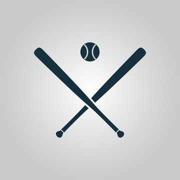 Vector crossed baseball bats and ball