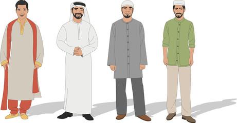 Group of four Muslim men
