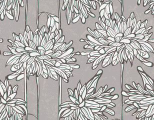 Seamless vector pattern with chrysanthemum.