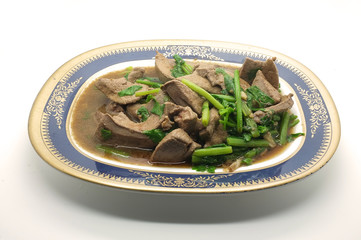 Stir fried pork liver with celery