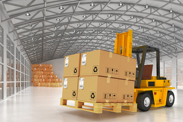 Warehouse logistics, packages shipment, delivery and loading concept, forklift truck and pallets with cardboard boxes in storehouse office building interior