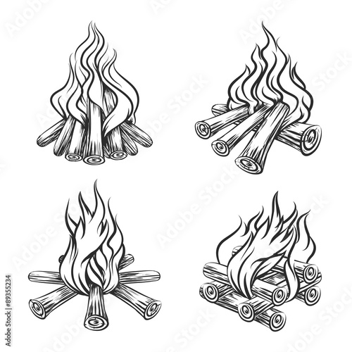 Vector Poster With Hand Drawn Campfire Stock Image And Royalty Free Files On Fotolia