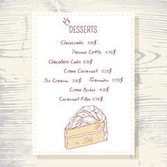 Dessert menu template with sweet vanilla cake