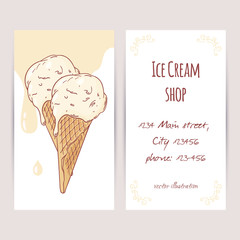 Business card template with hand drawn ice cream in a waffle cone and drops
