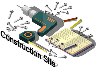 illustration of info graphic construction site concept
