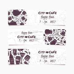 Banners set with hand drawn drinks. Round doodle emblem. Beverages collection for menu, bar or cafe design