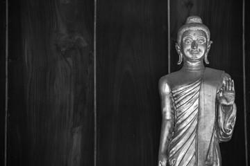 Buddha statue standing, black and white image