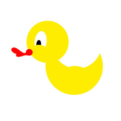 Bathing duck on a white background. Yellow rubber duck for kids.