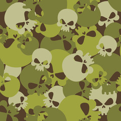 Military texture of skulls. Camouflage army seamless pattern fro