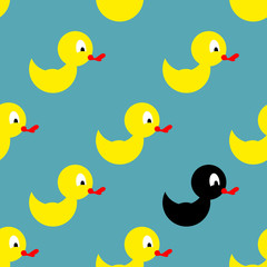 Childrens rubber toy for bathing. Yellow Duck seamless pattern.