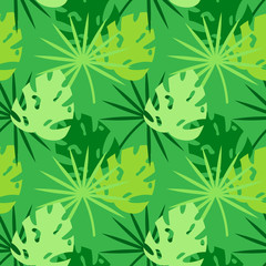 palm leaves silhouette pattern green