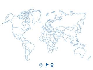 Foto op Plexiglas Wereldkaart Political world blue map and vector illustration