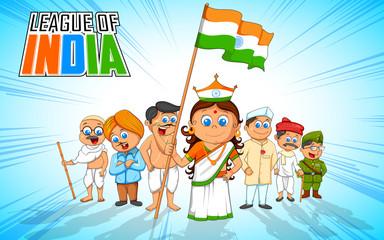 Kids in fancy dress of Indian freedom fighter