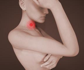 Mal di gola, collo, arrossamento, dolore