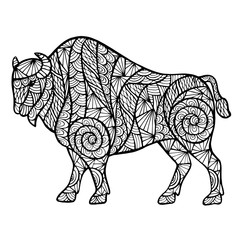 Zentangle stylized buffalo