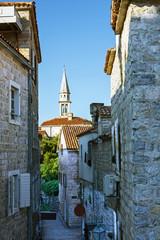 Street of old town in Budva, Montenegro.