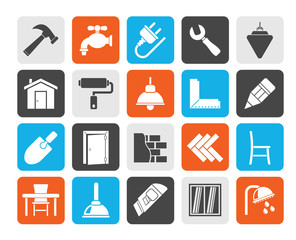 Silhouette Building and home renovation icons - vector icon set