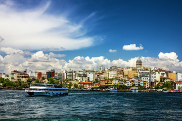 Galata tower sea view in Istanbul, Turkey.