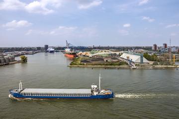Tanker port terminal and cargo ship, Rotterdam, Netherlands