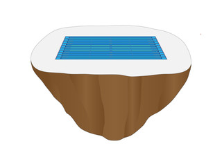 Full Size Competition Pool Floating Island