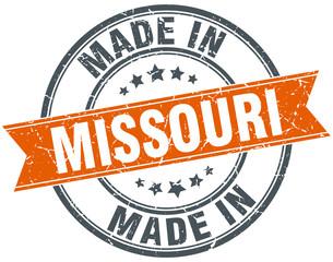 Missouri orange grunge ribbon stamp on white