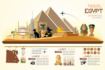 Info graphics travel and landmark egypt template design. Concept Vector Illustration