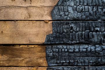 Wall Murals Firewood texture Half charred wood