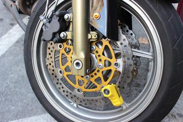 Yellow Motorbike Disc Brake Lock