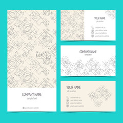 Engineering business cards, flyers, leaflets with the drawings. Blue color. Vector
