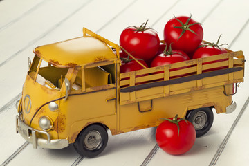 A truck with tomatoes