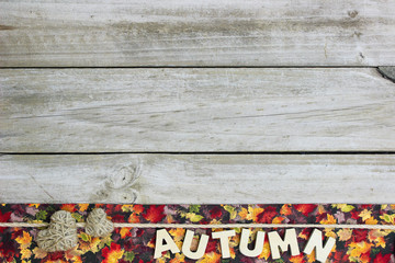 Blank rustic sign with AUTUMN and hearts border