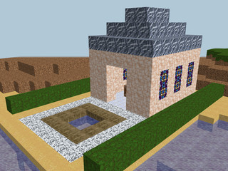 Cube pixel church world