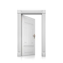 Offene Tür vor weiß