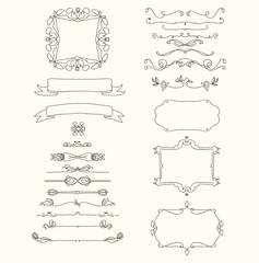 Hand drawn emblem abstract template Elegant linear frame outline