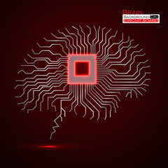 Brain. Cpu. Microprocessor. Circuit board. Abstract technology