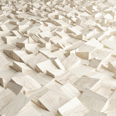 Abstract texture from wooden cubes, 3d render