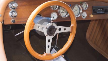 Wooden interior of retro luxury car