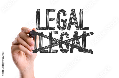 hand with marker writing the word legal ilegal stock photo and