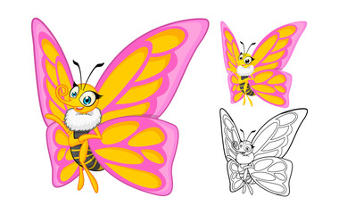 High Quality Detailed Butterfly Cartoon Character with Flat Design and Line Art Black and White Version Vector Illustration