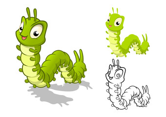 High Quality Detailed Caterpillar Cartoon Character with Flat Design and Line Art Black and White Version Vector Illustration